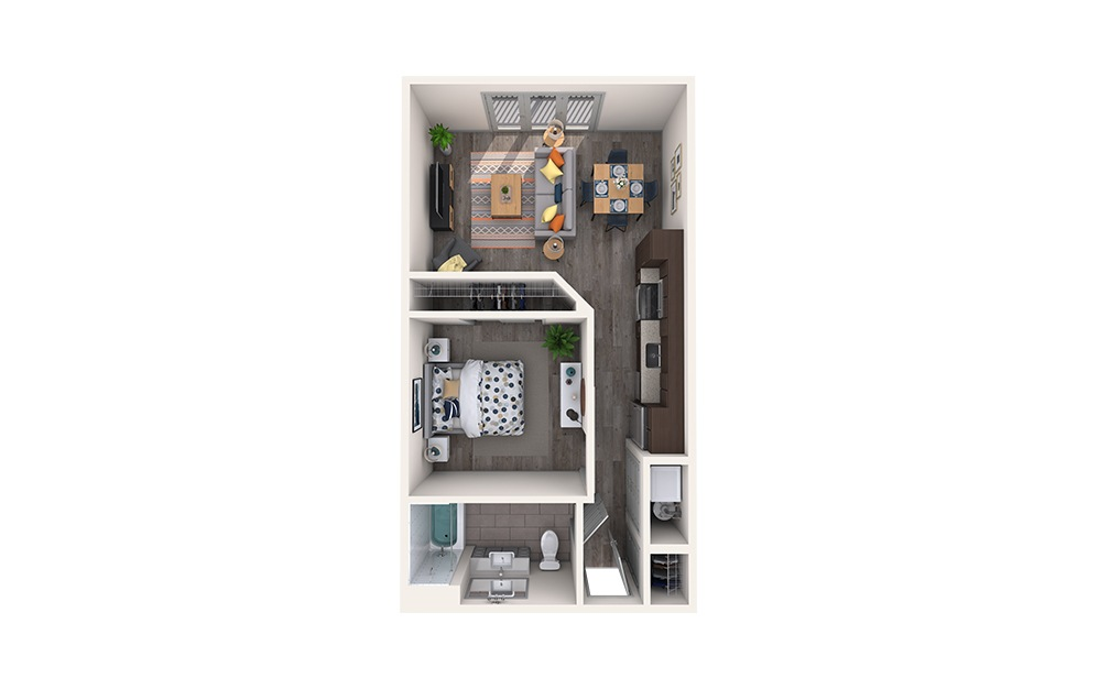 Boucle - 1 bedroom floorplan layout with 1 bath and 571 square feet.