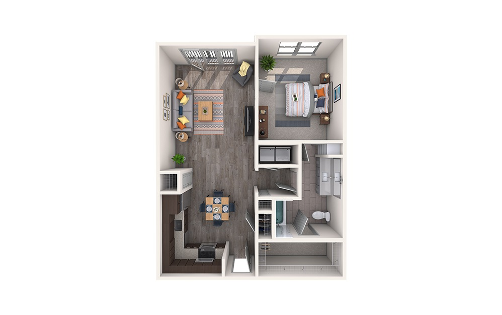 Brocade - 1 bedroom floorplan layout with 1 bath and 752 square feet.