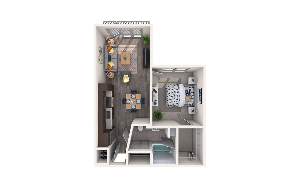 Cashmere - 1 bedroom floorplan layout with 1 bath and 698 square feet.