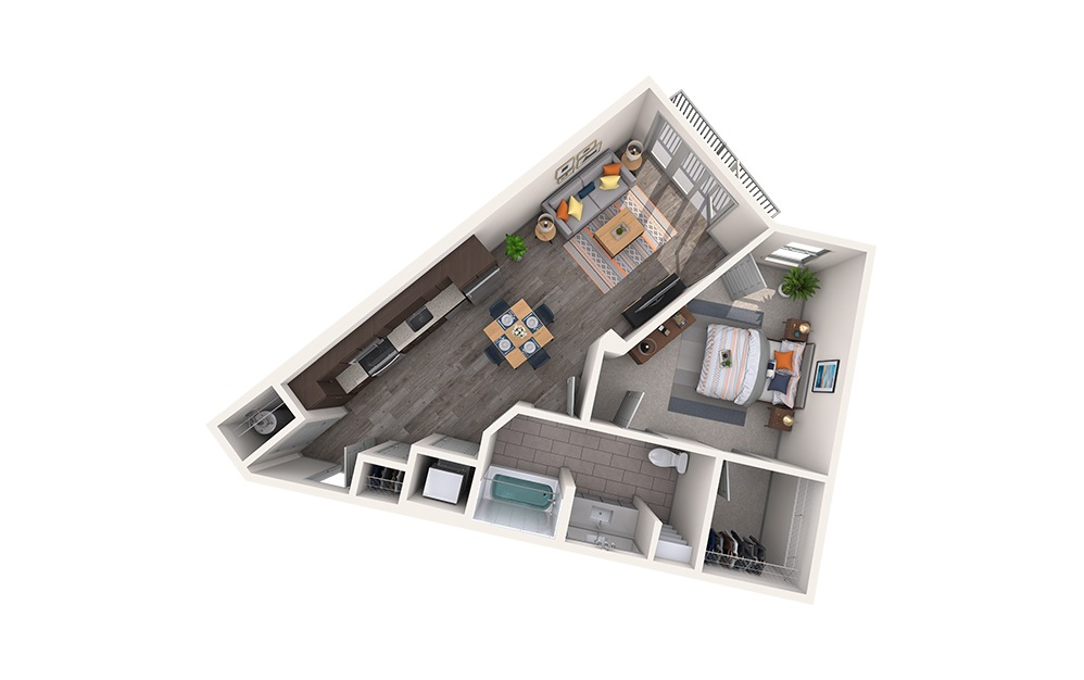 Cotton - 1 bedroom floorplan layout with 1 bath and 702 square feet.