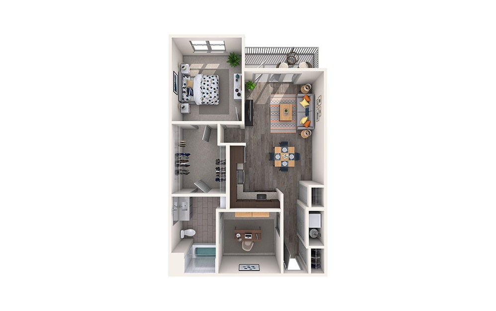 Fringe - 1 bedroom floorplan layout with 1 bath and 947 square feet.