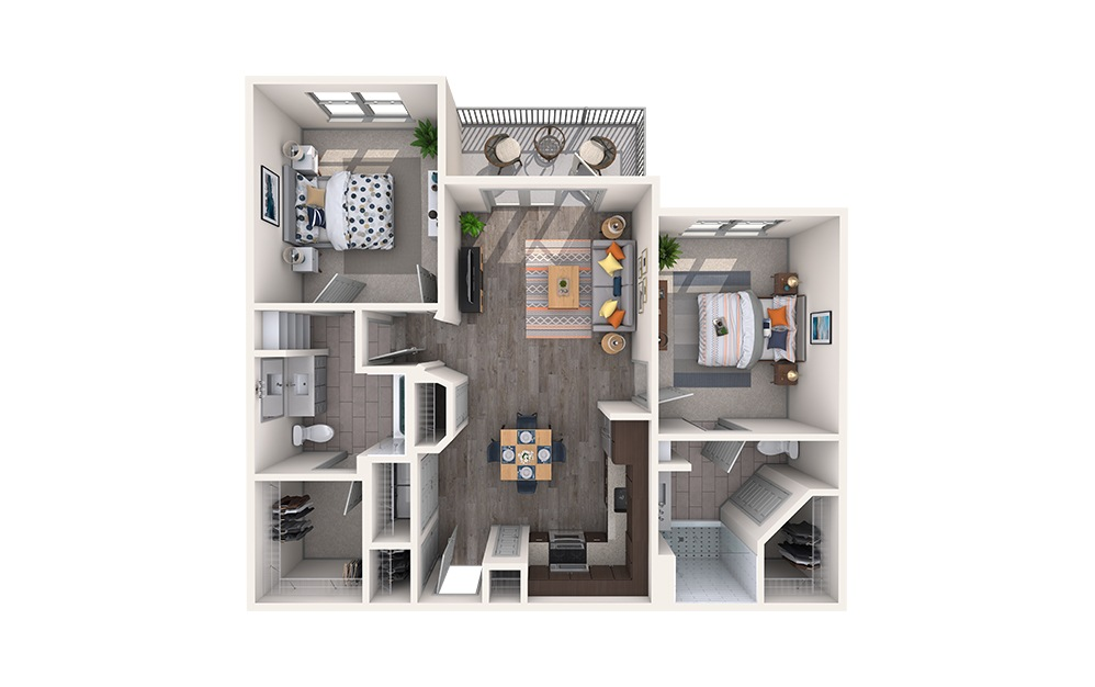 Herring Bone - 2 bedroom floorplan layout with 2 baths and 1006 square feet.