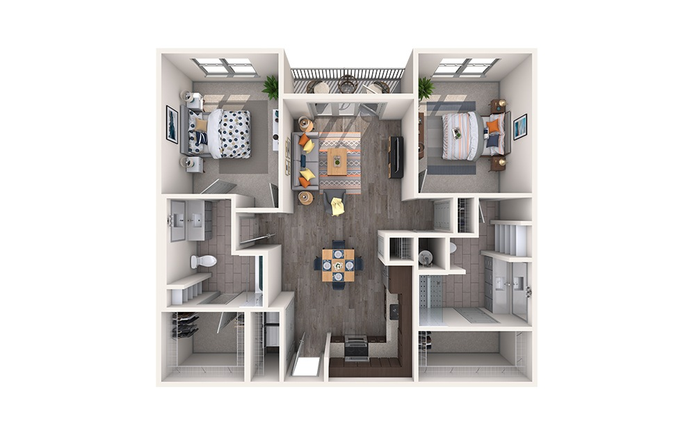 Linen - 2 bedroom floorplan layout with 2 baths and 1120 square feet.
