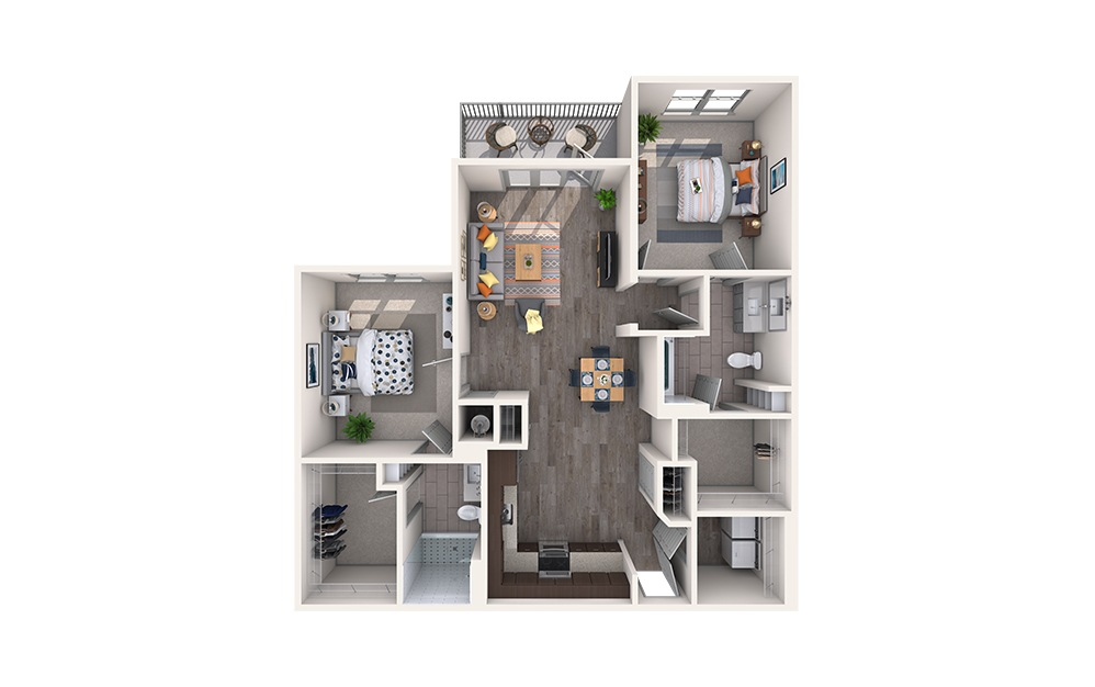 Medallion - 2 bedroom floorplan layout with 2 baths and 1160 square feet.