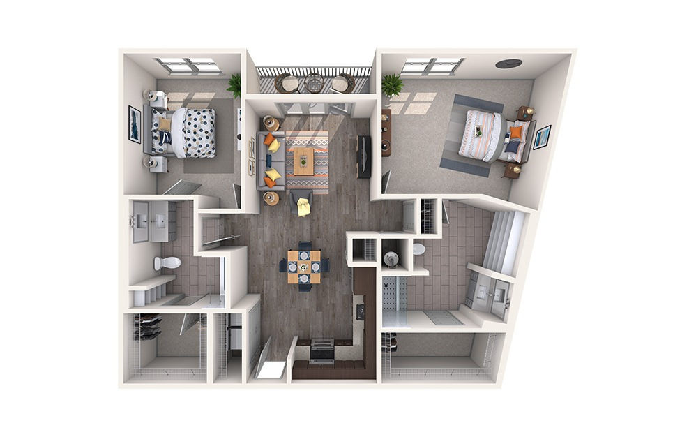 Oxford - 2 bedroom floorplan layout with 2 baths and 1203 square feet.