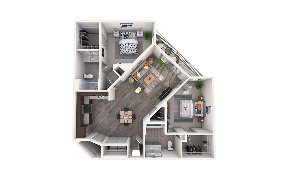 Paisley - 2 bedroom floorplan layout with 2 baths and 1123 square feet.