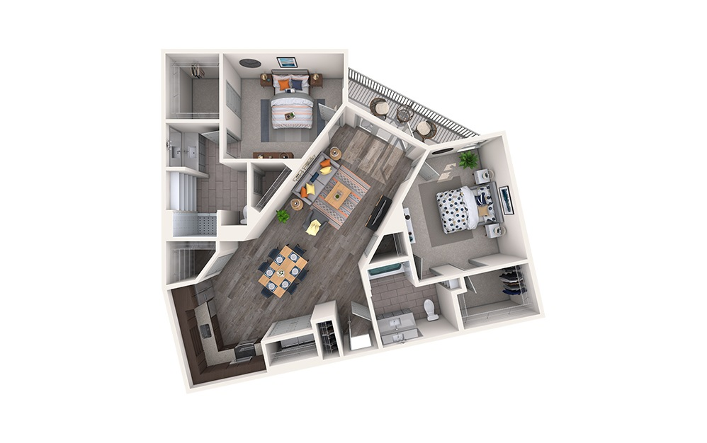 Plaid - 2 bedroom floorplan layout with 2 baths and 1224 square feet.