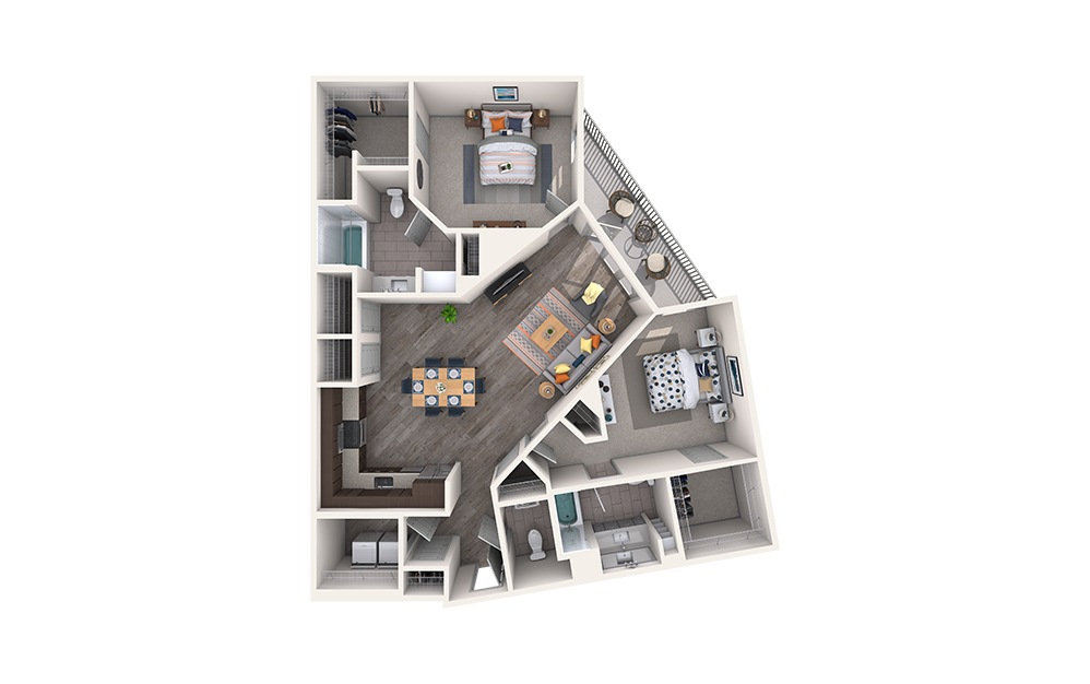 Ribbon - 2 bedroom floorplan layout with 2.5 baths and 1309 square feet.
