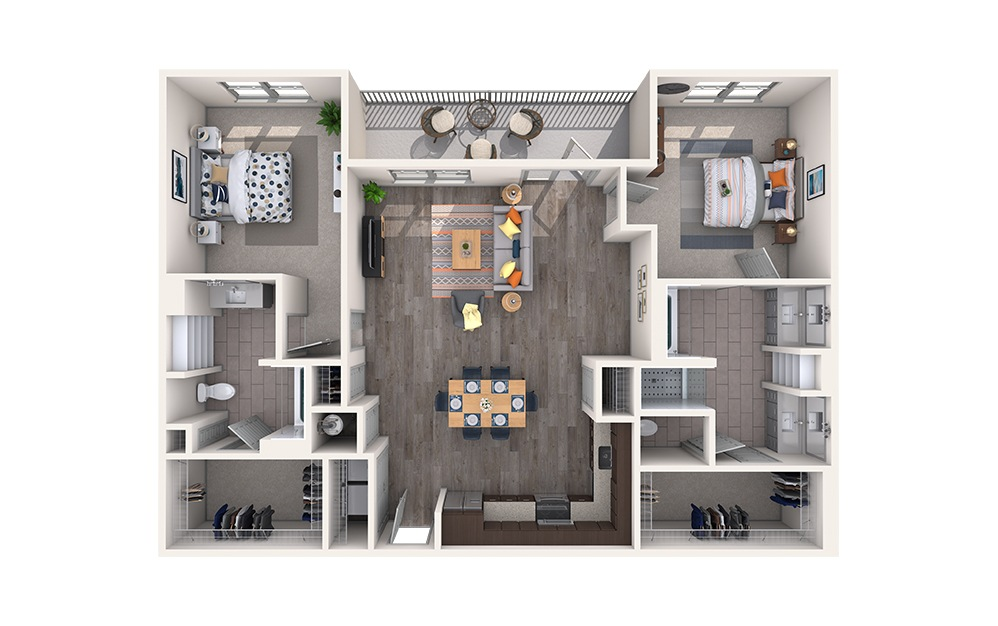 Satin - 2 bedroom floorplan layout with 2 baths and 1333 square feet.