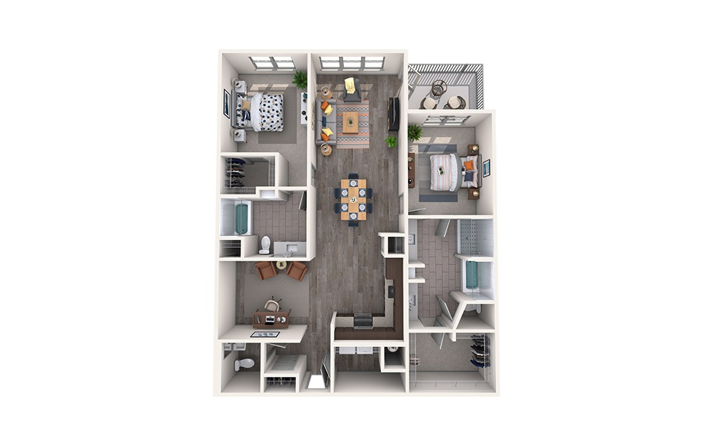 Silk - 2 bedroom floorplan layout with 2.5 baths and 1543 square feet.
