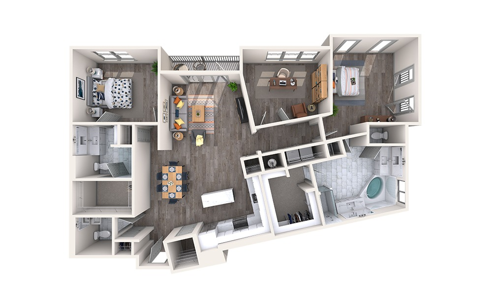 Taffeta - 2 bedroom floorplan layout with 2.5 baths and 1777 square feet.