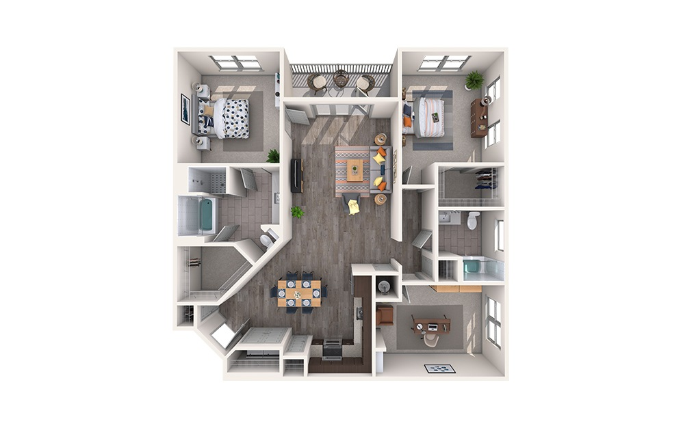 Tweed - 2 bedroom floorplan layout with 2 baths and 1486 square feet.