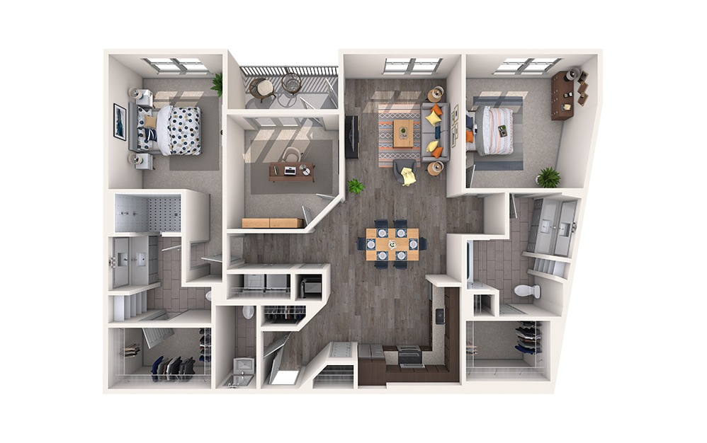 Velvet - 2 bedroom floorplan layout with 2.5 baths and 1541 square feet.