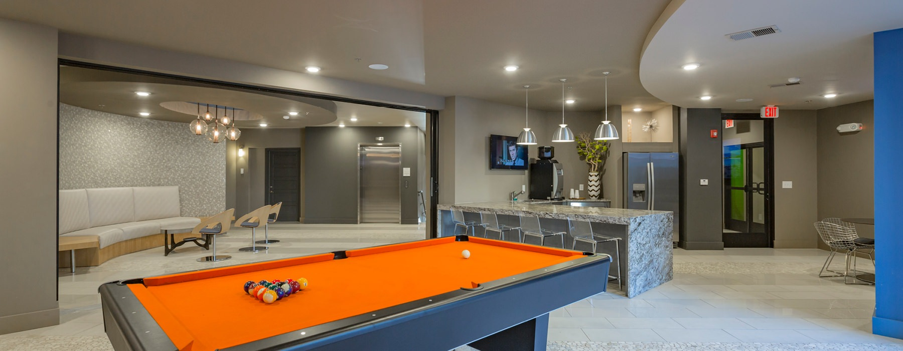 Clubhouse with pool table and demo kitchen